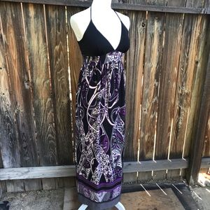 Black & Purple Boho Print Halter Maxi Dress